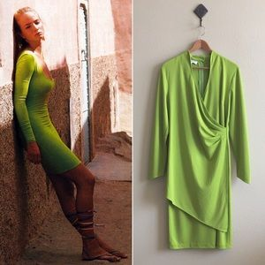 '80s / Chartreuse Wrap Bodycon Dress